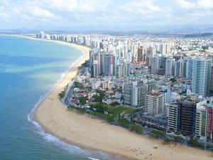 Vista aérea da orla de Vila Velha (Foto: Divulgação/ Semcom)
