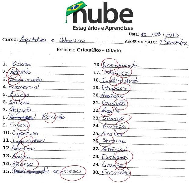 Teste ortográfico do Nube para o curso de arquitetura e urbanismo, cujo número de acertos ficou em 9 (Foto: Reprodução)