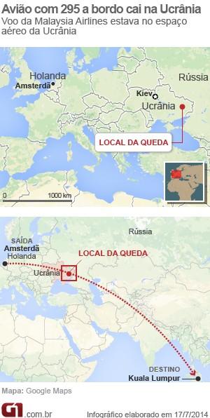 Mapa local da queda do avião (Foto: Arte/G1)