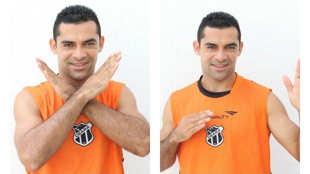 Henrique Dias faz as pôses tradicionais do Spectreman quando vai para o combate (Foto: Divulgação / CearaSC.com)