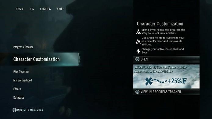 Assassins Creed tem sistema de personalização bem variado (Foto: Reprodução/Thiago Barros)