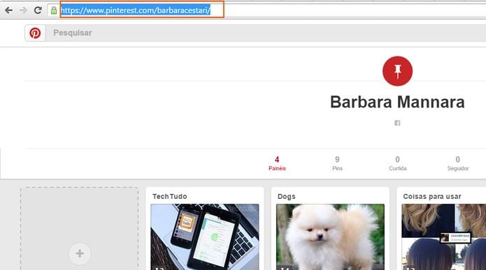 Acesse seu perfil do Pinterest e copie o link completo no topo do navegador (Foto: Reprodução/Barbara Mannara)