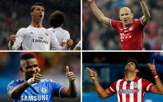 Montagem - Cristiano Ronaldo, Robben, Eto'o e Diego Costa (Foto: Editoria de Arte)