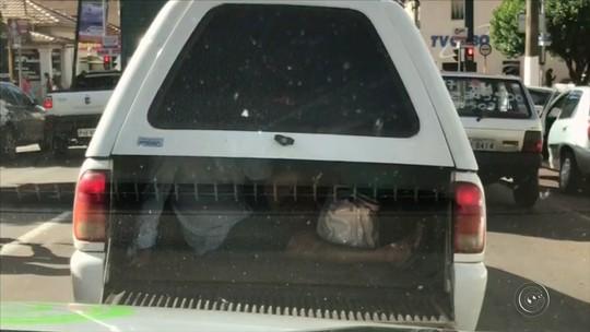 Flagrante mostra carona irregular na caçamba de picape no centro de Ourinhos; VÍDEO