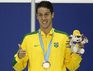 Brandonn Almeida, com a medalha de bronze nos 1500m livre (Foto: Erich Schlegel-USA TODAY Sports)