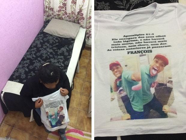 À esquerda, mãe de François segura camiseta feita em homenagem ao filho morto pela PM; à direita, detalhe da camisete com inscrição da Bíblia (Foto: Kleber Tomaz / G1)