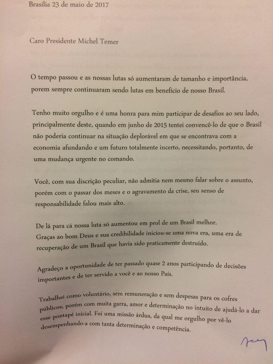 Carta de Sandro Mabel  a Michel Temer