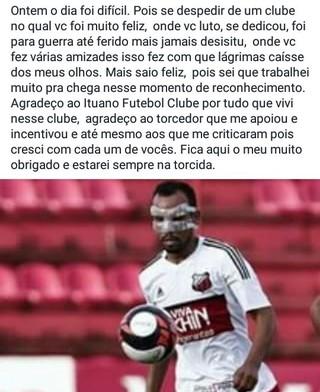Simião deixa o Ituano rede social (Foto: Reprodução / Facebook)
