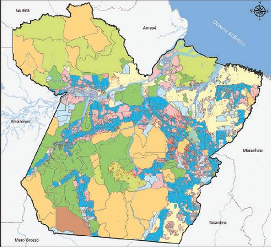 Mapa com desmatamento no Pará por classe fundiária entre 2013 e 2016 (Foto: Imazon)