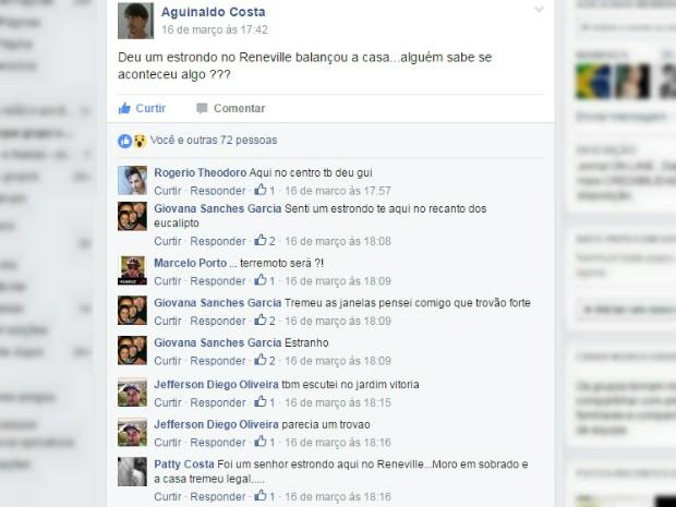 Moradores relatam tremor em portas e janelas em Mairinque (Foto: Reprodução/Facebook)