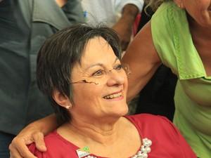 Maria da Penha em solenidade em Campo Grande (Foto: Reprodução/TV Morena)