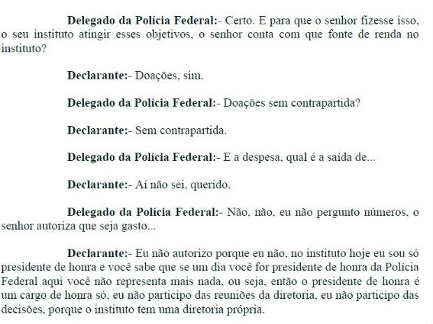 Trecho do depoimento de Lula fala sobre doações envolvendo o Instituto (Foto: Reprodução)