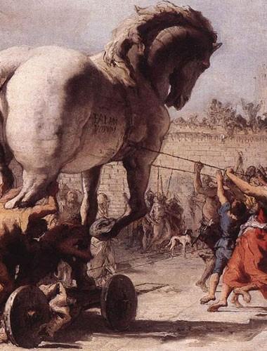 detalhe de obra de Domenico Tiepolo sobre o Cavalo de Troia