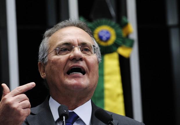 O senador Renan Calheiros (PMDB-AL), presidente do Senado, faz seu discurso antes da votação do impeachment (Foto: Edilson Rodrigues/Agência Senado)