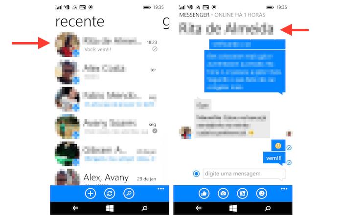 Acessando as opções para um chat do Facebook Messenger pelo Windows Phone (Foto: Reprodução/Marvin Costa)