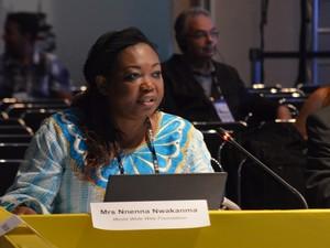 Nnenna Nwakanma é coordenadora da regional África da World Wide Web Foundation - ou apenas Web Foundation, uma organização dedicada ao aperfeiçoamento e disponibilidade da internet (Foto: Krystine Carneiro/G1)