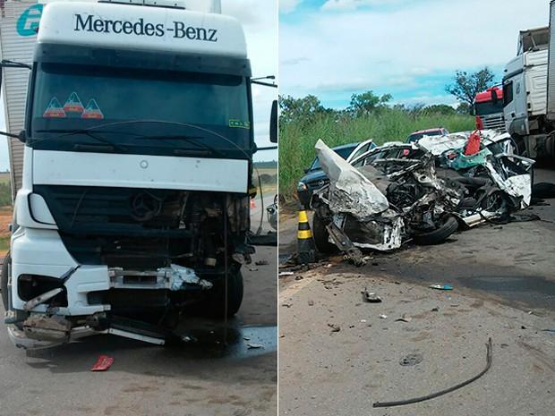 Batida entre caminhão e carro deixa dois mortos em Correntina, no oeste da Bahia (Foto: Magnum Favretto/Blog do Sigi Vilares)