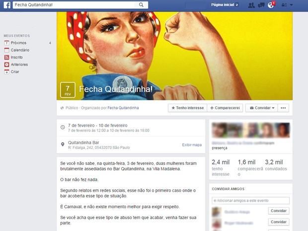 Grupo se mobiliza em rede social e pede fechamento de bar de Pinheiros acusado de assédio (Foto: Reprodução/Facebook)
