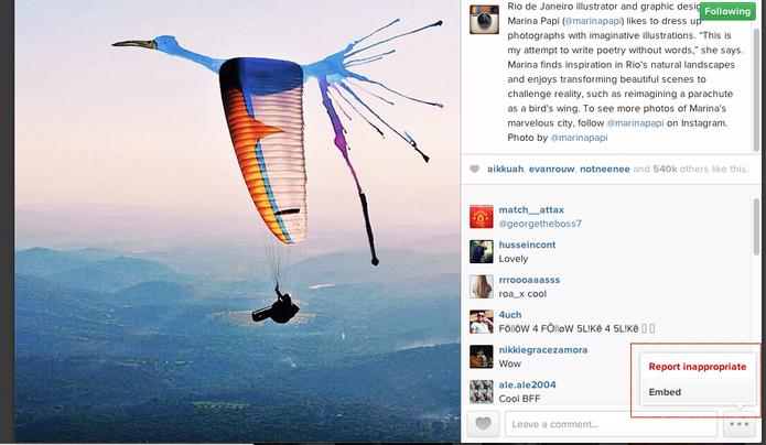 Botão de embed aparece em todas as fotos acessadas via Instagram.com (Foto: Reprodução/Instagram)