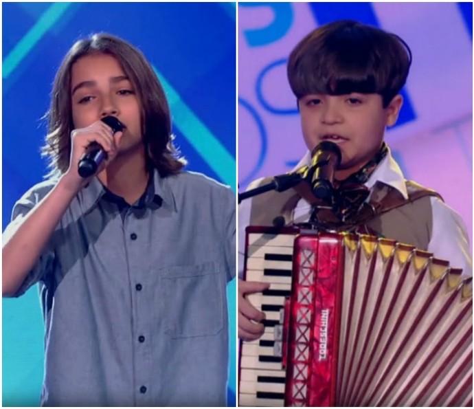 Luís Arthur Seidel, 12 anos, e Thomas Machado, 9 anos, passam na primeira etapa do The Voice Kids. (Foto: Reprodução/TV Globo)