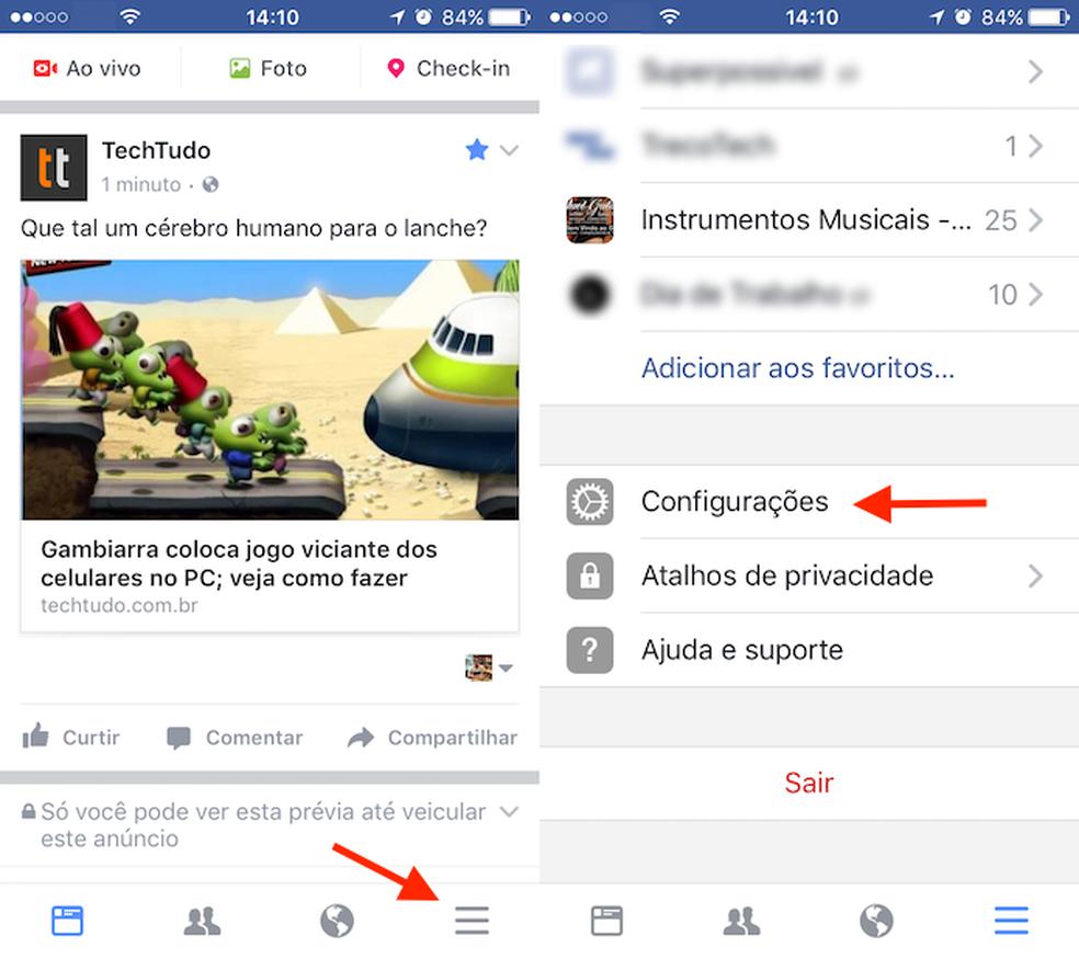Caminho para ter acesso as configurações do aplicativo do Facebook para iPhone (Foto: Reprodução/Marvin Costa)