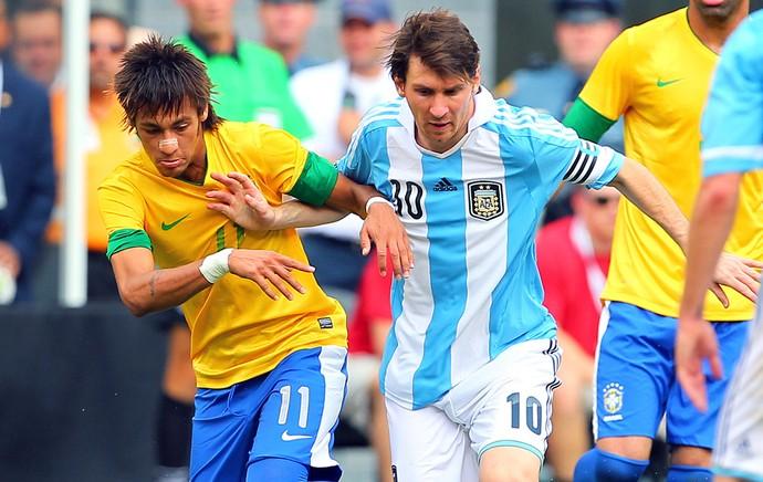 Messi Neymar jogo Brasil Argentina (Foto: Getty Images)