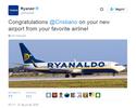 Companhia aérea homenageia Cristiano Ronaldo com nome em avião