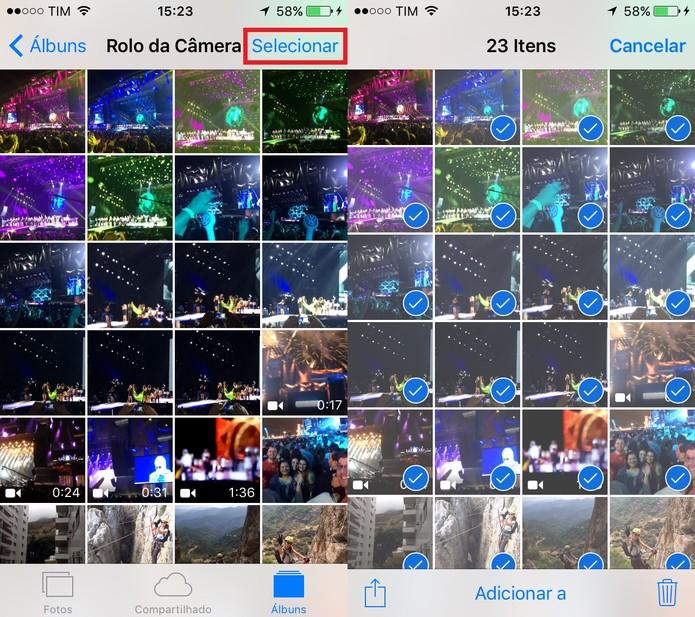 Basta deslizar o dedo sobre a tela para selecionar várias fotos de uma vez só (Foto: Reprodução/Juliana Pixinine)