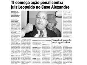 Arquivo: TJ abre ação penal contra Leopoldo no caso do juiz Alexandre Martins (Foto: Reprodução/ A Gazeta/ 26/05/2005)