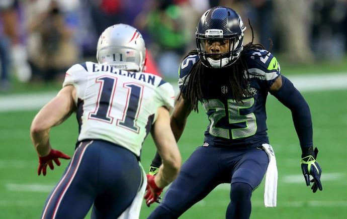 Richard Sherman e Julian Edelman, super bowl 49, NFL (Foto: Getty Images)