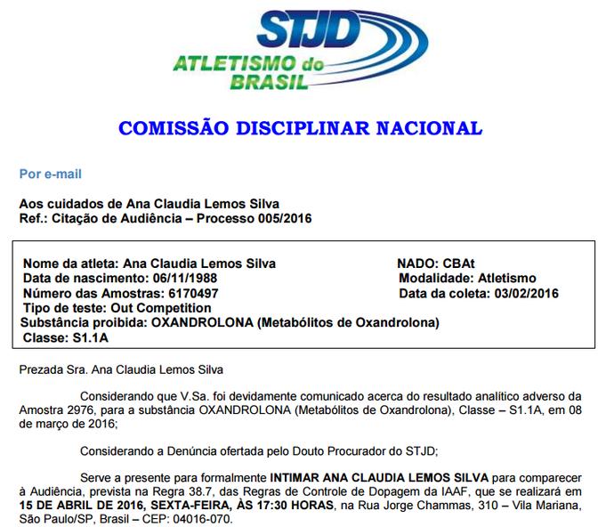edital stjd ana cláudia lemos julgamento (Foto: Reprodução)