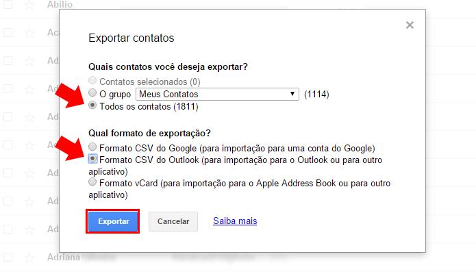 Selecione os contatos e o formato aceito pelo Outlook (Foto: Reprodução/Paulo Alves)