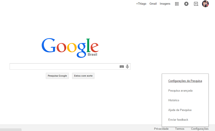 É preciso fazer alteração nas configurações do Google (Foto: Reprodução/Thiago Barros)