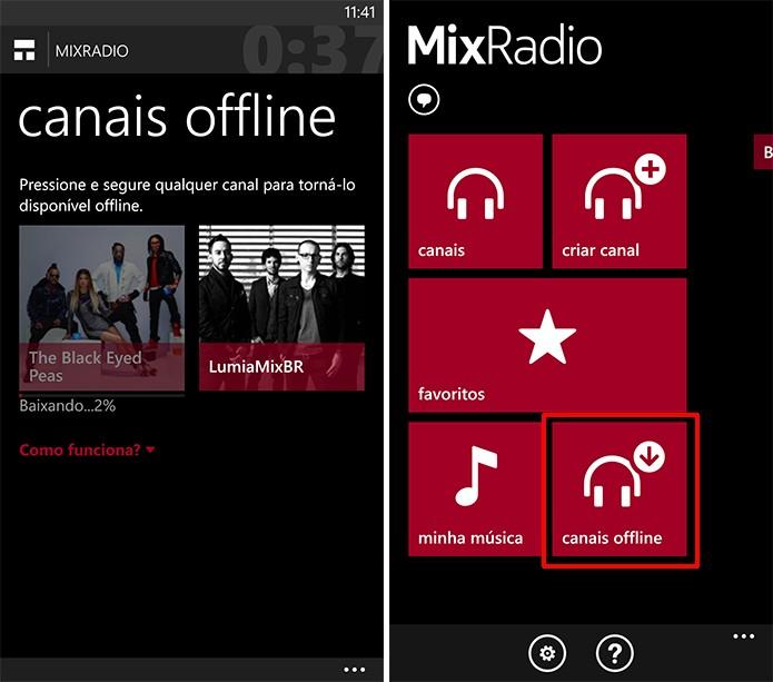 Nokia MixRadio baixa canais para ouvir offline de graça, que podem ser acessados na tela inicial do app (Foto: Reprodução/Elson de Souza)