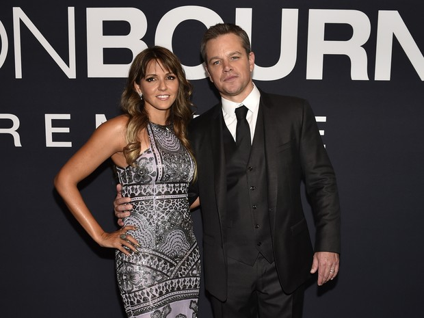 Matt Damon e a mulher, Luciana Barroso, em première de filme em Las Vegas, nos Estados Unidos (Foto: David Becker/ AFP)