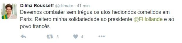 Post da presidente Dilma Rousseff no Twitter neste sábado  (Foto: Reprodução/Twitter)