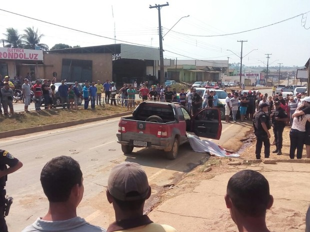 Vítima foi atingida no centro de Buritis (Foto: Fernando Moreira/Buritis News/Reprodução)