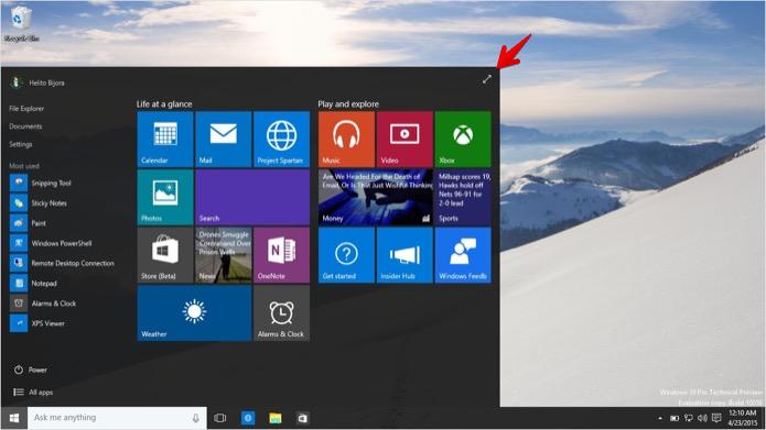 Colocando o menu Iniciar do Windows 10 em tela cheia (Foto: Reprodução/Helito Bijora)