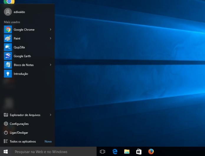 Deixando o menu Iniciar do Windows 10 igual ao da versão 7 (Foto: Reprodução/Edivaldo Brito)