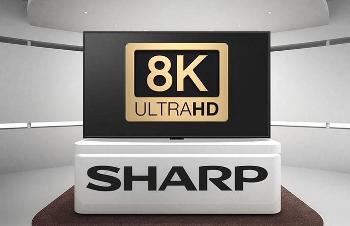 A Sharp foi uma das primeiras a experimentar com o 8K, resolução 16 vezes maior que o Full HD (Foto: Divulgação/Sharp)