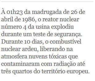 Selo: À 01h23 da madrugada de 26 de abril de 1986, o reator nuclear número 4 da usina explodiu durante um teste de segurança (Foto: G1)
