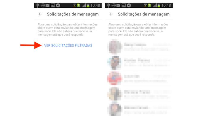 Acessando as solicitações filtradas de mensagens do Facebook Messenger para Android (Foto: Reprodução/Marvin Costa)