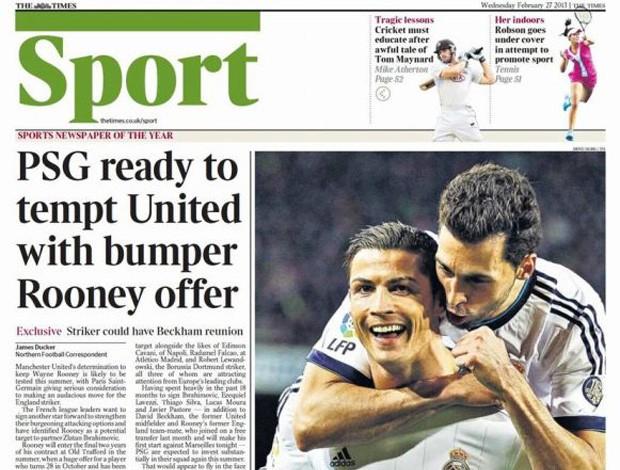 Reprodução jornal times rooney na mira do PSG (Foto: Reprodução / Times)