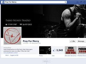 Homenagem a Fábio Frazão em página da banda no Facebook (Foto: Reprodução)