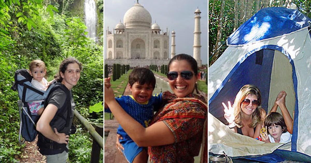 'Mães mochileiras' levam filhos para viagens de aventura pelo mundo