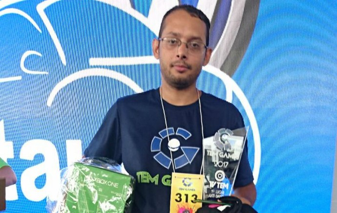 Veterano do TEM GAMES conquista o primeiro lugar no Just Dance (Foto: Francine Galdino/G1)