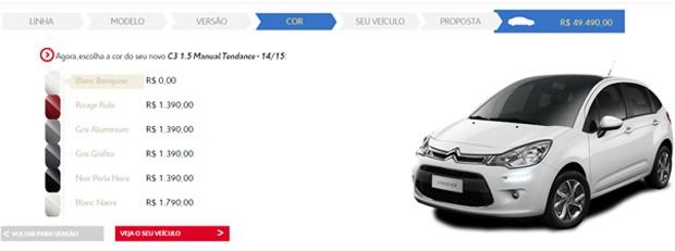 Opções de cores para o Citroën C3 (Foto: Reprodução)