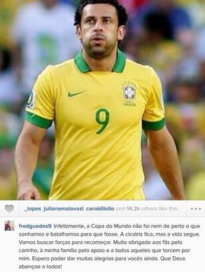 Fred posta mensagem sobre o Brasil na Copa do Mundo (Foto: Reprodução/Instagram)