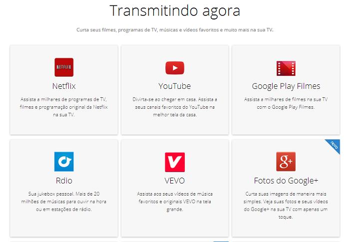 O Chromecast é compatível com uma grande variedade de aplicativos (Foto: Thiago Barros/Reprodução)