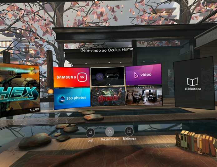 A interface Oculus Home é a principal tela de comando do GearVR: por ela, você pode abrir e gerenciar seus apps e acessar a loja (Foto: Reprodução/Filipe Garrett)